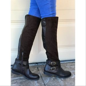 NIB Canvas Knee High Brown Boots